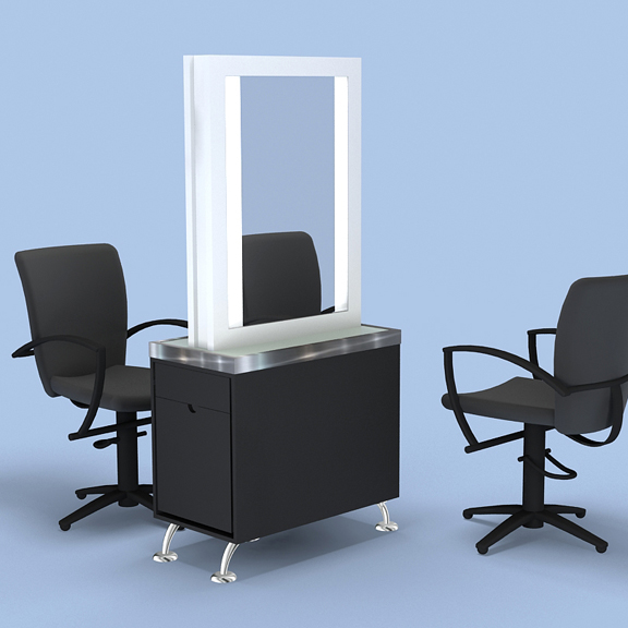 Art Deco Styling Station Mirror, Deco Salon Furniture